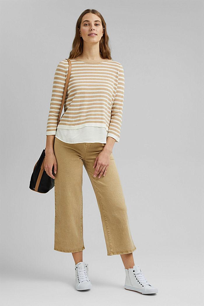 Hemp/LENZING™ ECOVERO™ blend: layered jumper, SAND, detail image number 1