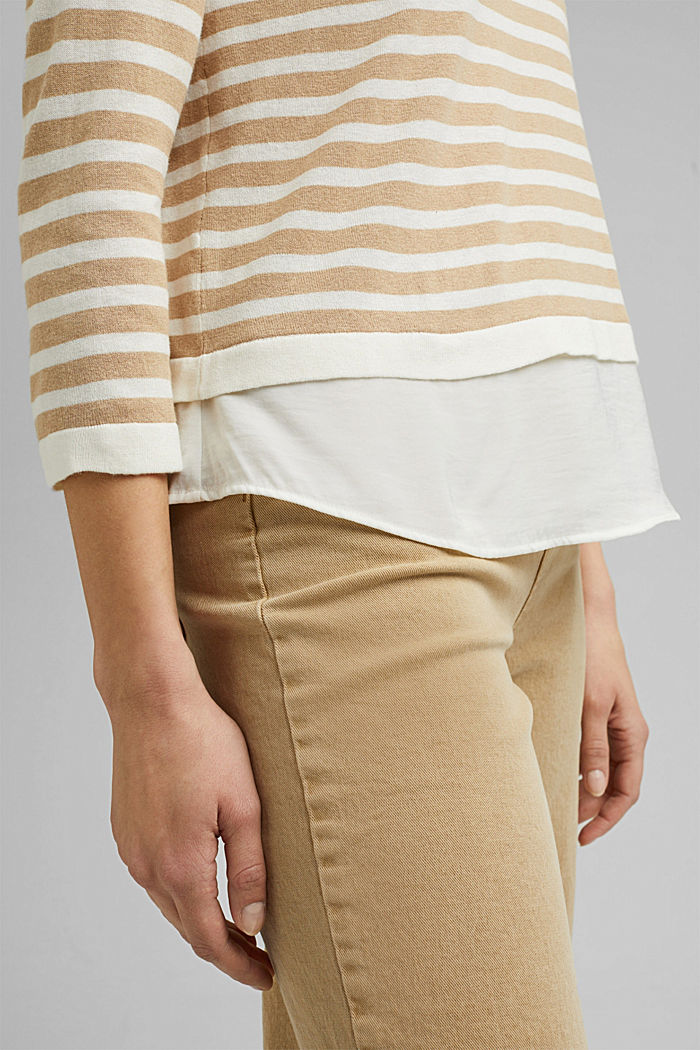 Hemp/LENZING™ ECOVERO™ blend: layered jumper, SAND, detail image number 5