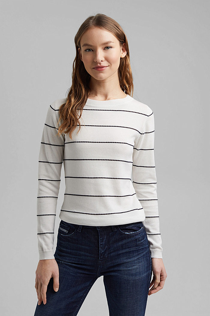 Striped jumper made of 100% organic cotton, OFF WHITE, detail image number 0