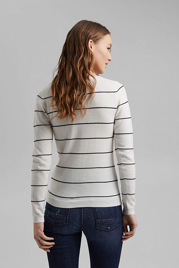 Striped jumper made of 100% organic cotton, OFF WHITE, detail image number 3