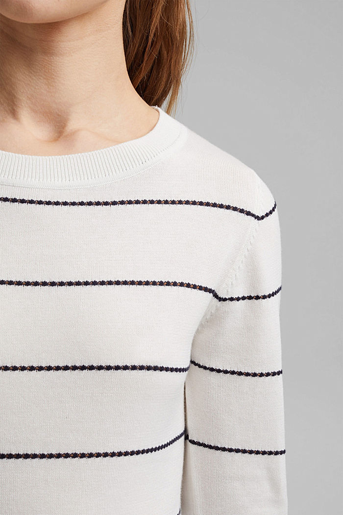 Striped jumper made of 100% organic cotton, OFF WHITE, detail image number 2