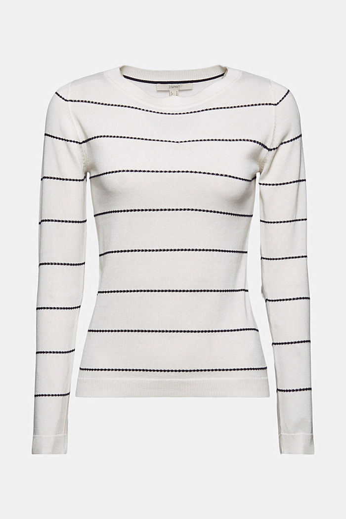Striped jumper made of 100% organic cotton, OFF WHITE, detail image number 6