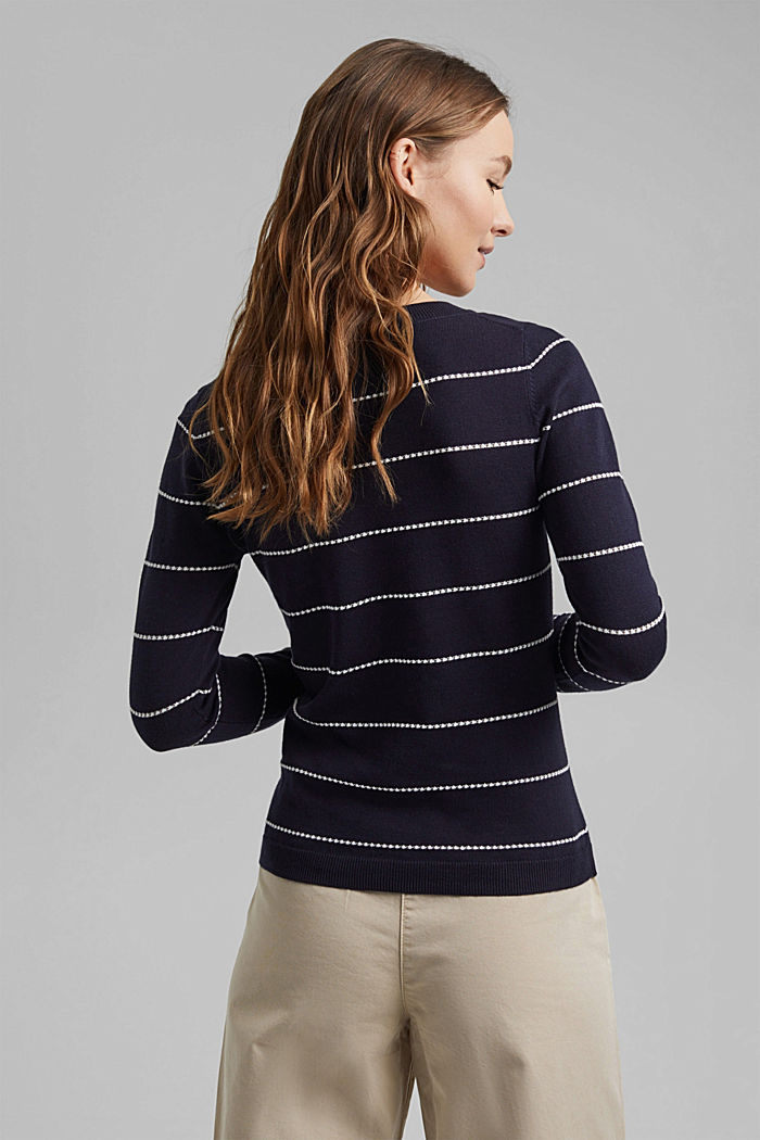 Striped jumper made of 100% organic cotton, NAVY, detail image number 3