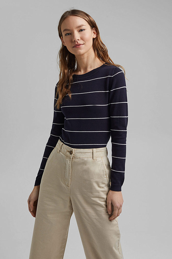 Striped jumper made of 100% organic cotton, NAVY, detail image number 5