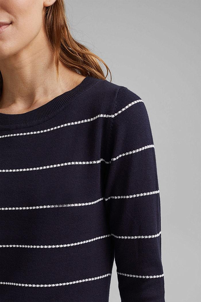 Streifen-Pullover aus 100% Organic Cotton, NAVY, detail image number 2