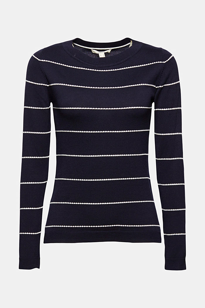 Striped jumper made of 100% organic cotton, NAVY, detail image number 7