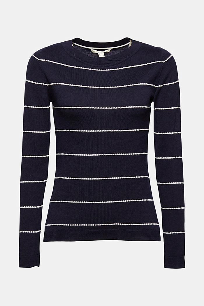Streifen-Pullover aus 100% Organic Cotton, NAVY, detail image number 7