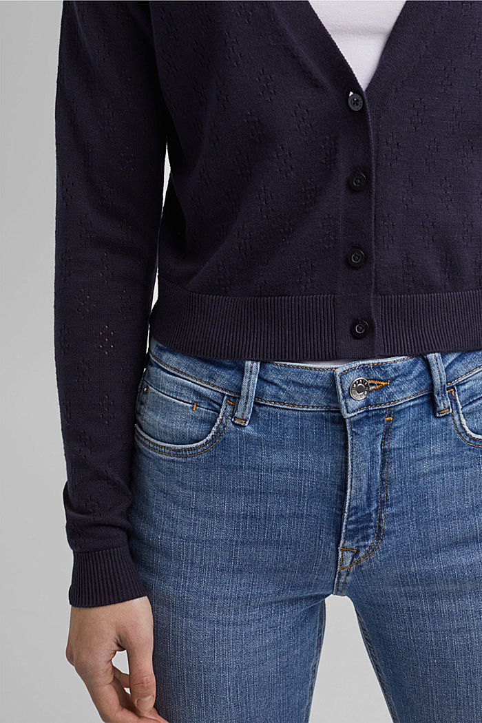 Bolero cardigan made of 100% organic cotton, NAVY, detail image number 2