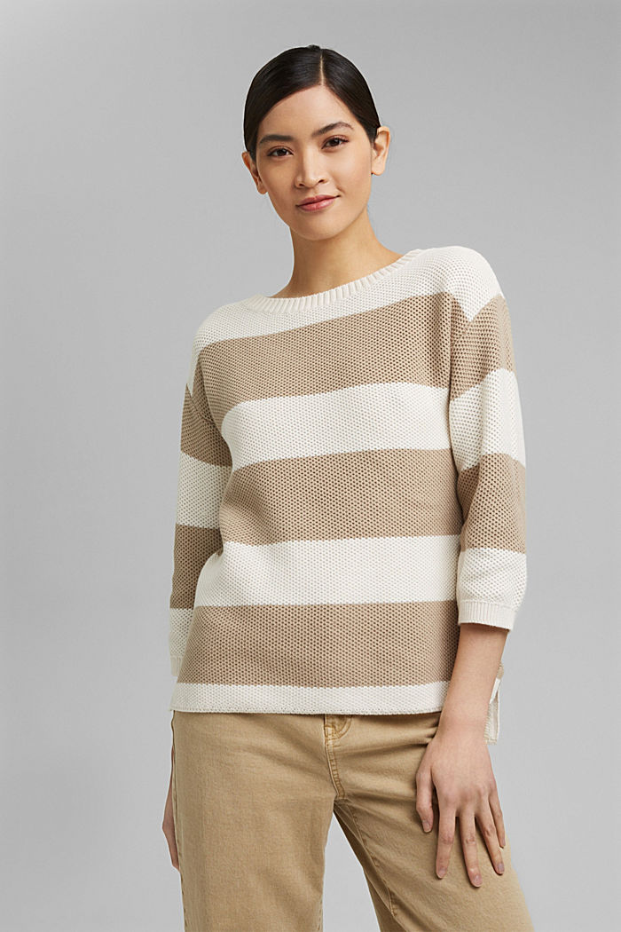 Block stripe jumper made of 100% organic cotton, ICE, detail image number 0