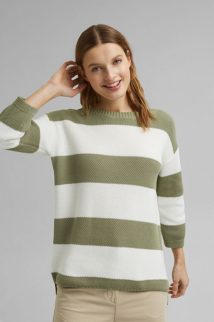 Block stripe jumper made of 100% organic cotton, LIGHT KHAKI, detail image number 0