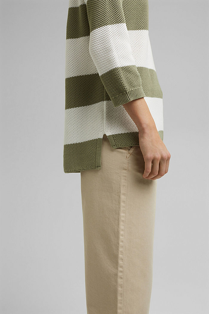 Block stripe jumper made of 100% organic cotton, LIGHT KHAKI, detail image number 2