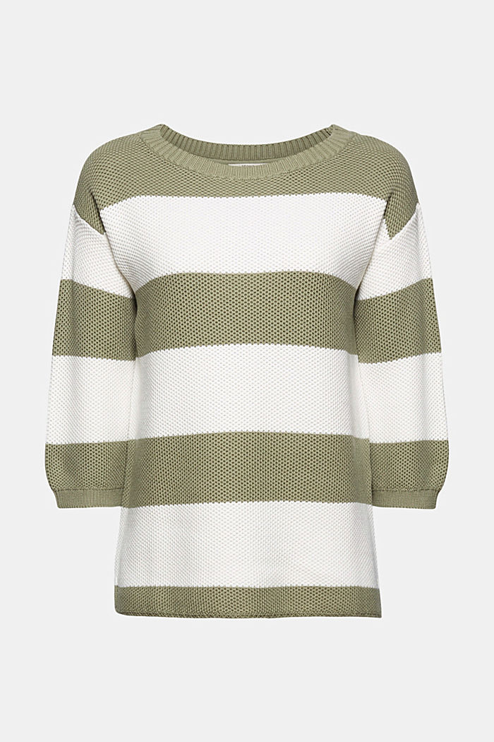 Block stripe jumper made of 100% organic cotton, LIGHT KHAKI, detail image number 5