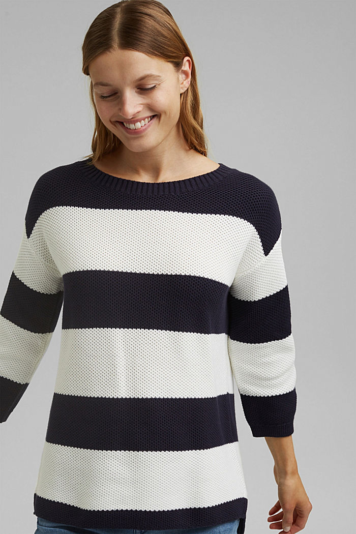 Block stripe jumper made of 100% organic cotton, NAVY, detail image number 0