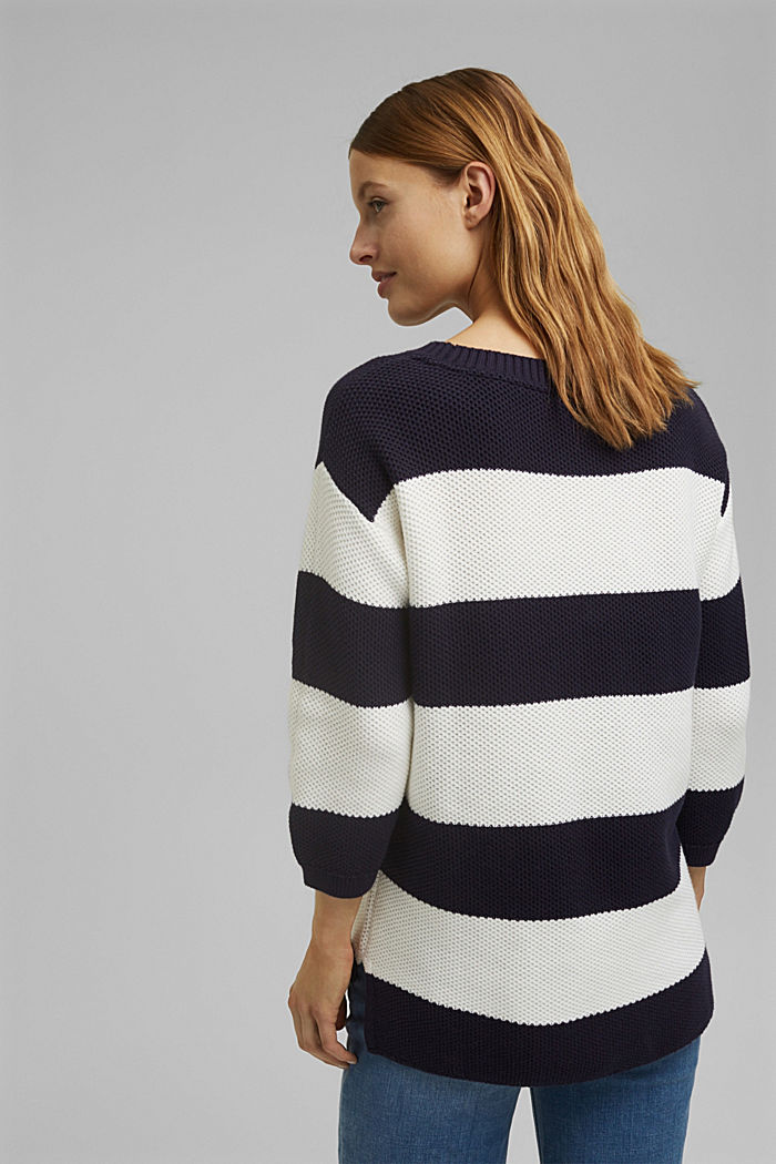 Block stripe jumper made of 100% organic cotton, NAVY, detail image number 3