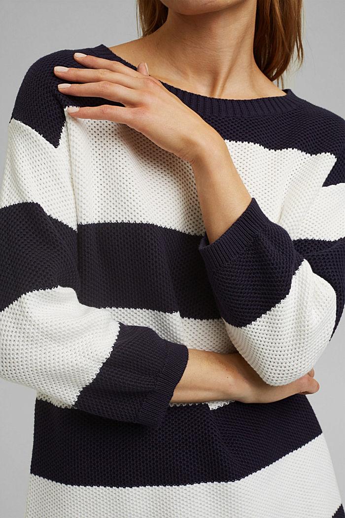Blockstreifen-Pullover aus 100% Bio-Baumwolle, NAVY, detail image number 2
