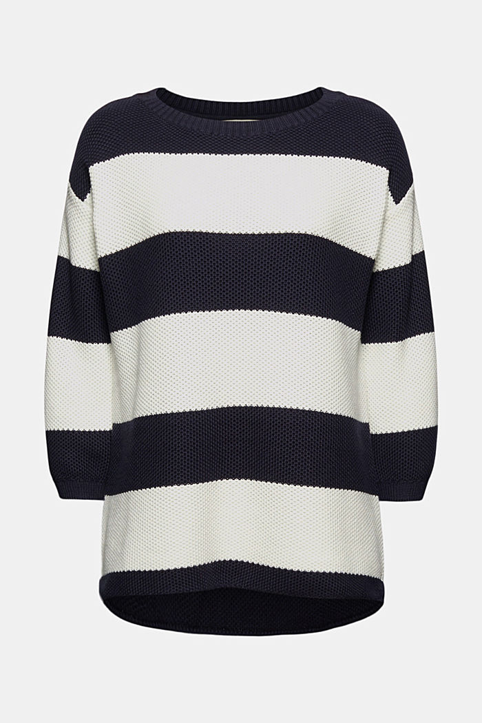 Block stripe jumper made of 100% organic cotton, NAVY, overview