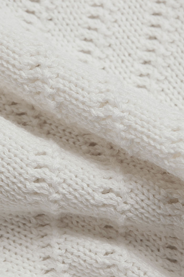 Openwork jumper made of 100% organic cotton, OFF WHITE, detail image number 4