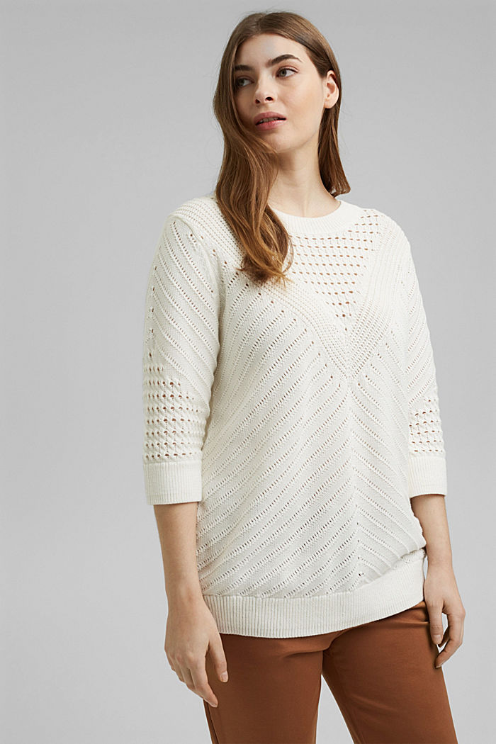 Ajour-Pullover aus 100% Organic Cotton, OFF WHITE, detail image number 0