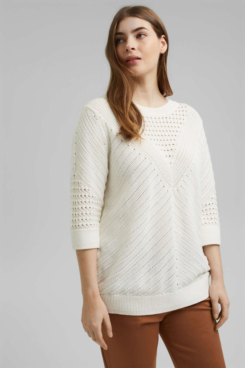 Esprit - Openwork jumper made of 100% organic cotton