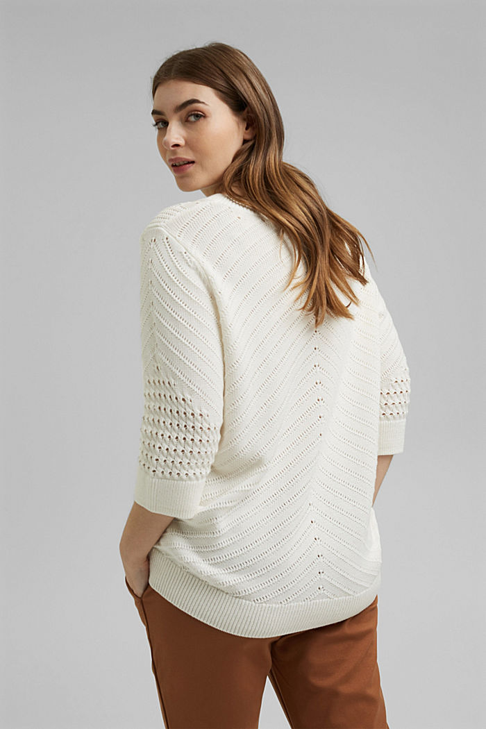 Ajour-Pullover aus 100% Organic Cotton, OFF WHITE, detail image number 3