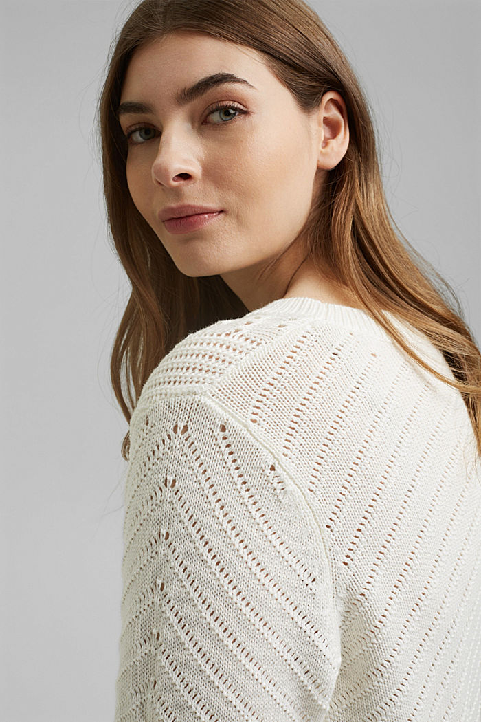 Ajour-Pullover aus 100% Organic Cotton, OFF WHITE, detail image number 6