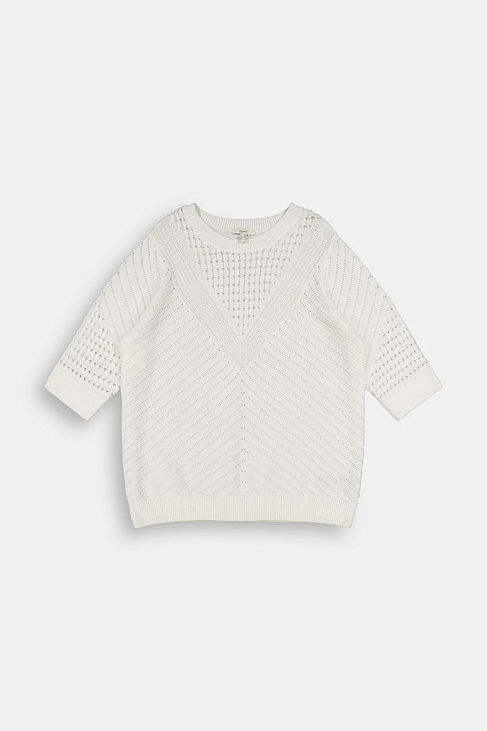 Openwork jumper made of 100% organic cotton, OFF WHITE, detail image number 7