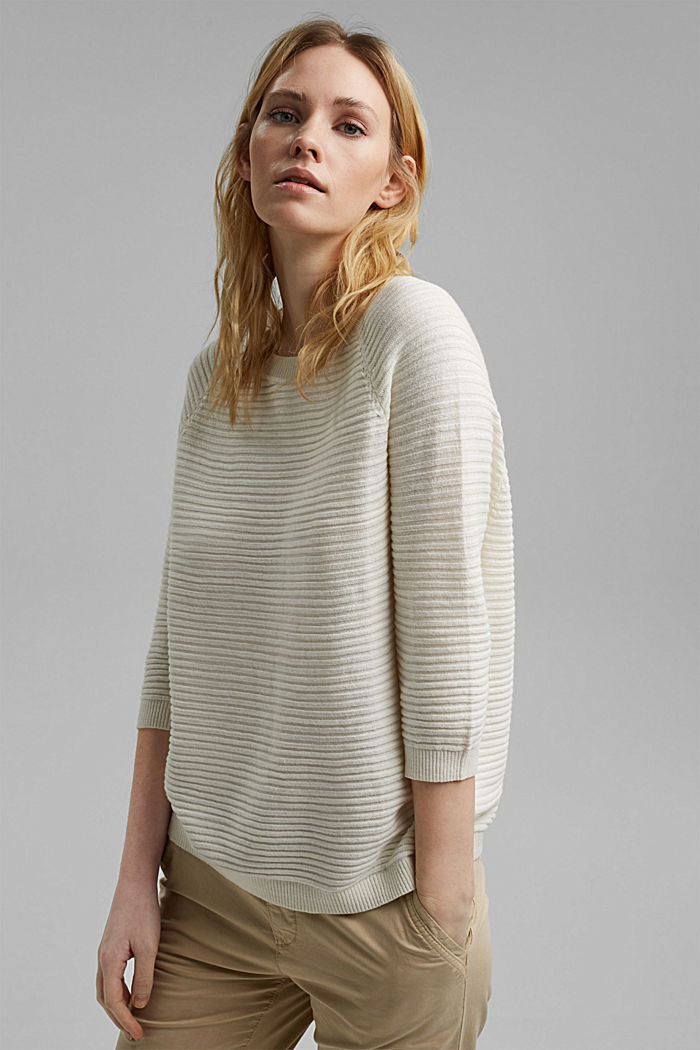 Linen/organic cotton: Rib knit jumper, OFF WHITE, detail image number 0