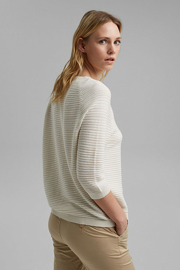 Linen/organic cotton: Rib knit jumper, OFF WHITE, detail image number 3