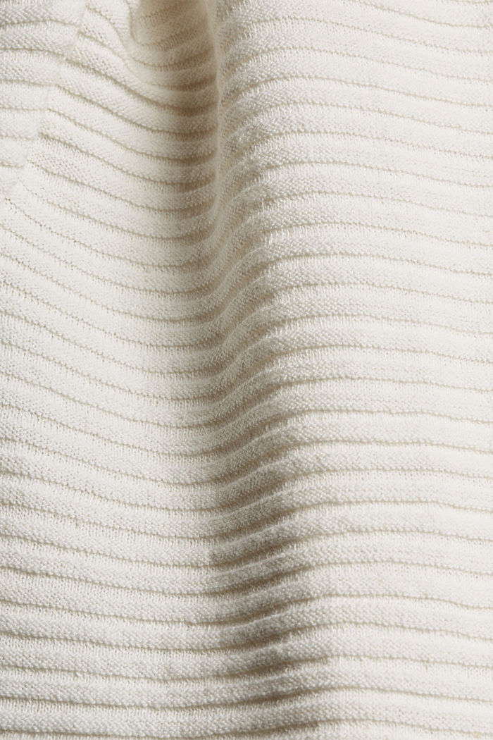 Linen/organic cotton: Rib knit jumper, OFF WHITE, detail image number 4