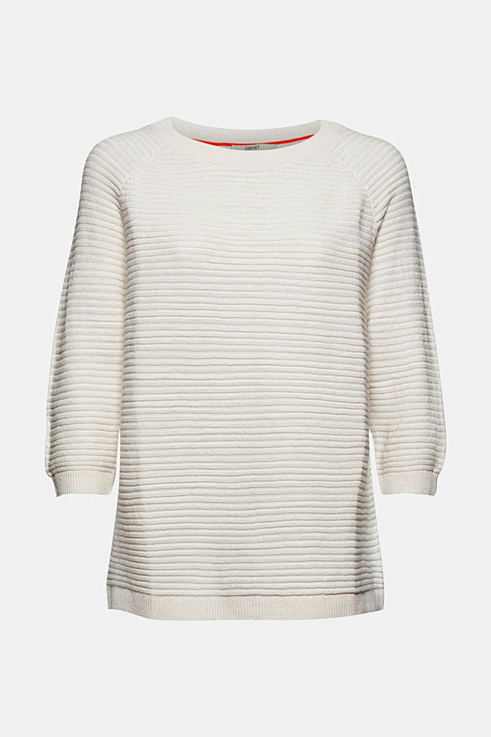 Linen/organic cotton: Rib knit jumper, OFF WHITE, detail image number 5
