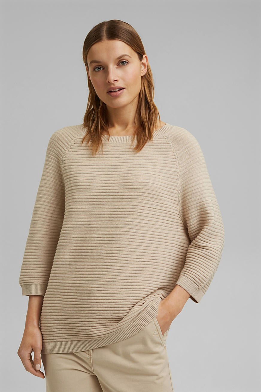 Linen/organic cotton: Rib knit jumper