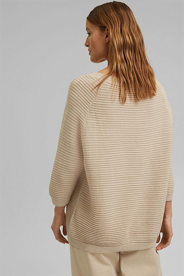 Linen/organic cotton: Rib knit jumper, SAND, detail image number 3