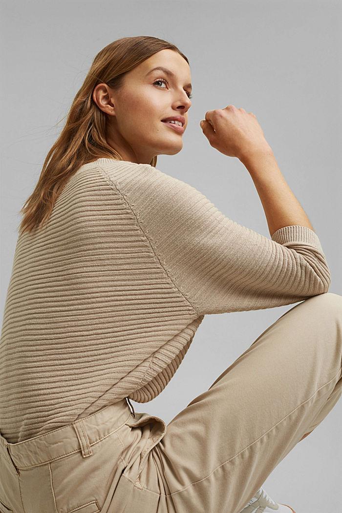 Linen/organic cotton: Rib knit jumper, SAND, detail image number 5