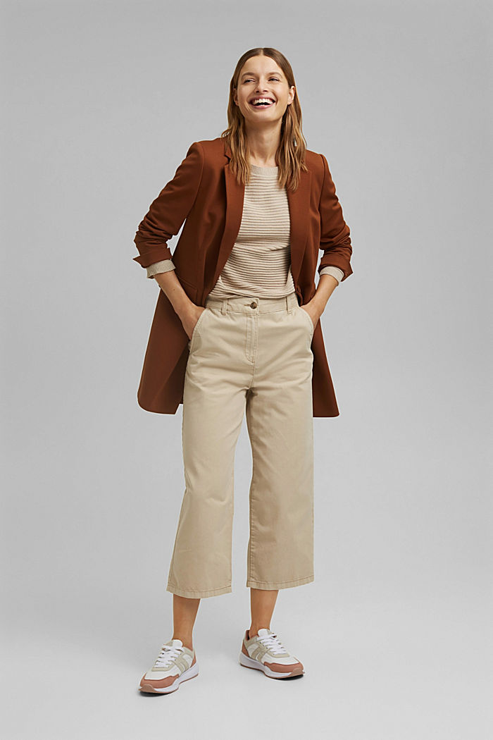 Linen/organic cotton: Rib knit jumper, SAND, detail image number 1