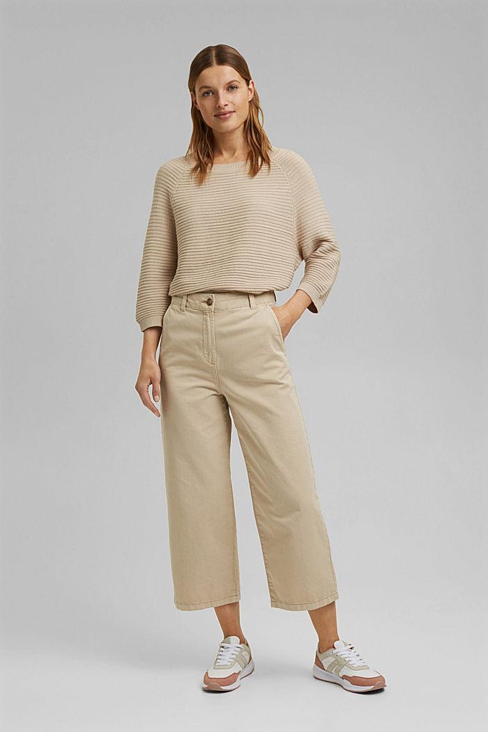 Linen/organic cotton: Rib knit jumper, SAND, detail image number 6
