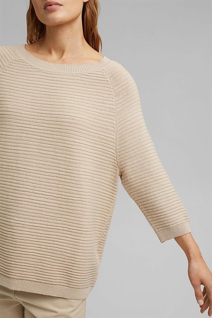 Linen/organic cotton: Rib knit jumper, SAND, detail image number 2