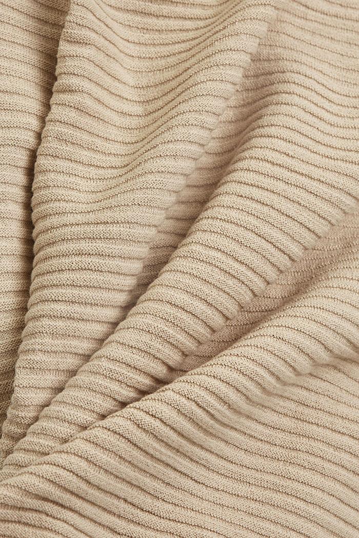 Linen/organic cotton: Rib knit jumper, SAND, detail image number 4