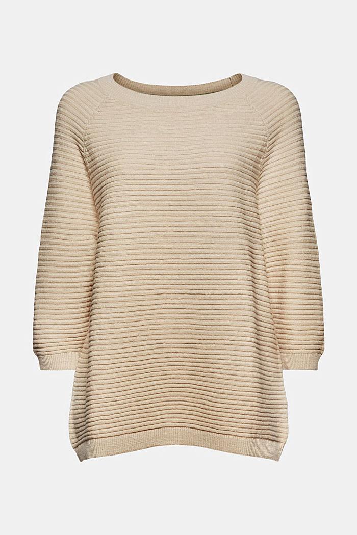 Leinen/Organic Cotton: Rippstrick-Pullover