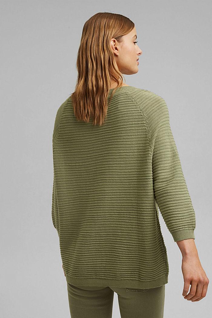 Linen/organic cotton: Rib knit jumper, LIGHT KHAKI, detail image number 3