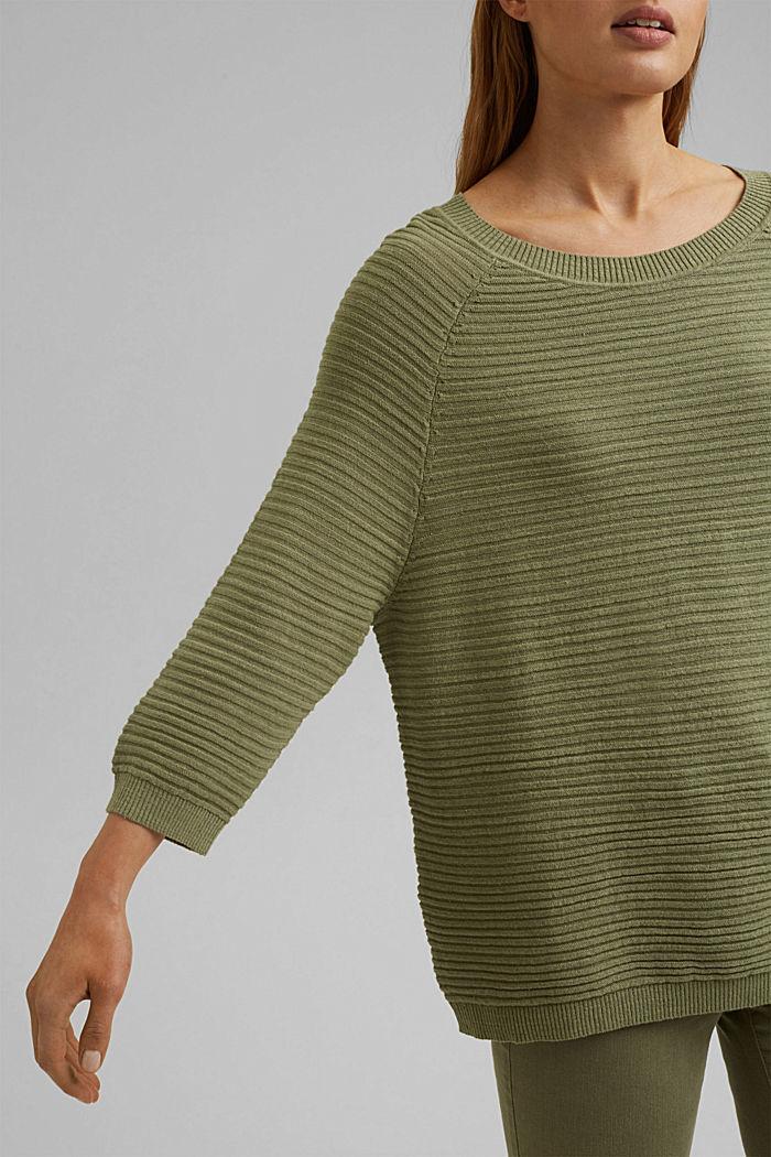 Linen/organic cotton: Rib knit jumper, LIGHT KHAKI, detail image number 2