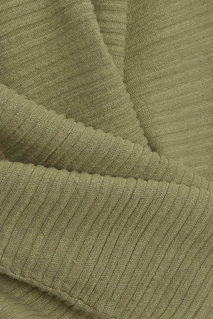 Linen/organic cotton: Rib knit jumper, LIGHT KHAKI, detail image number 4