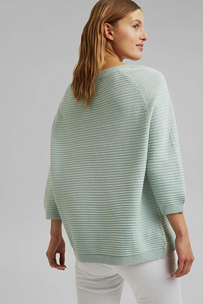 Linen/organic cotton: Rib knit jumper, LIGHT AQUA GREEN, detail image number 3