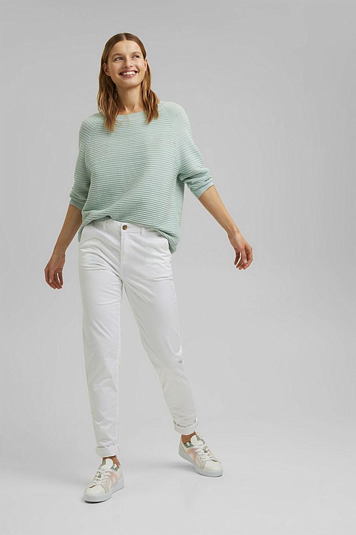 Linen/organic cotton: Rib knit jumper, LIGHT AQUA GREEN, detail image number 1