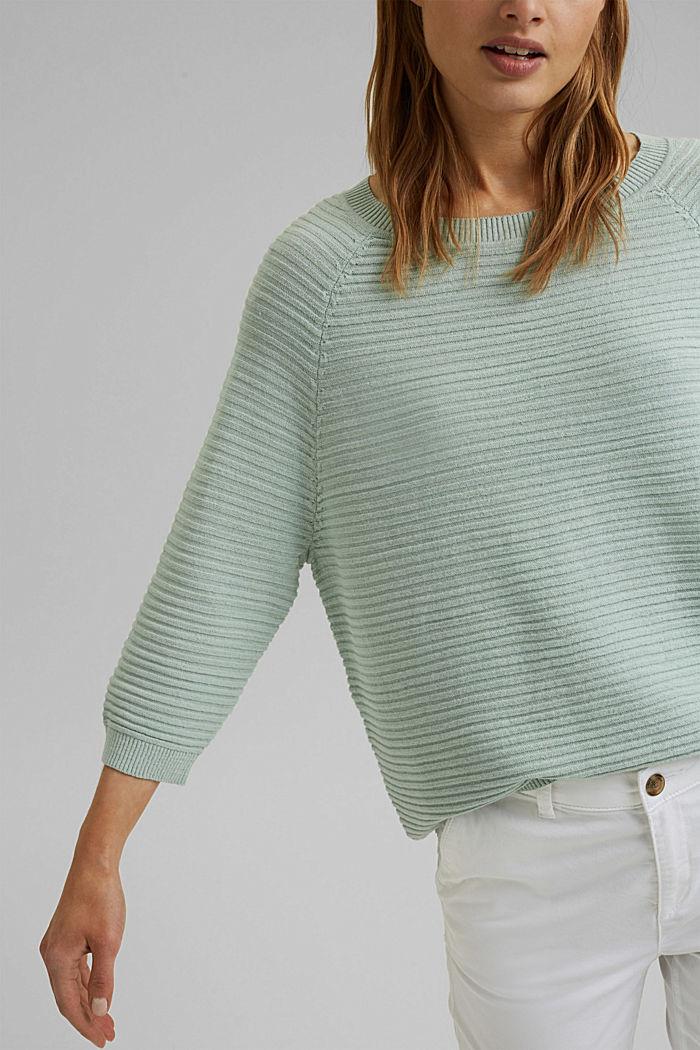 Linen/organic cotton: Rib knit jumper, LIGHT AQUA GREEN, detail image number 2