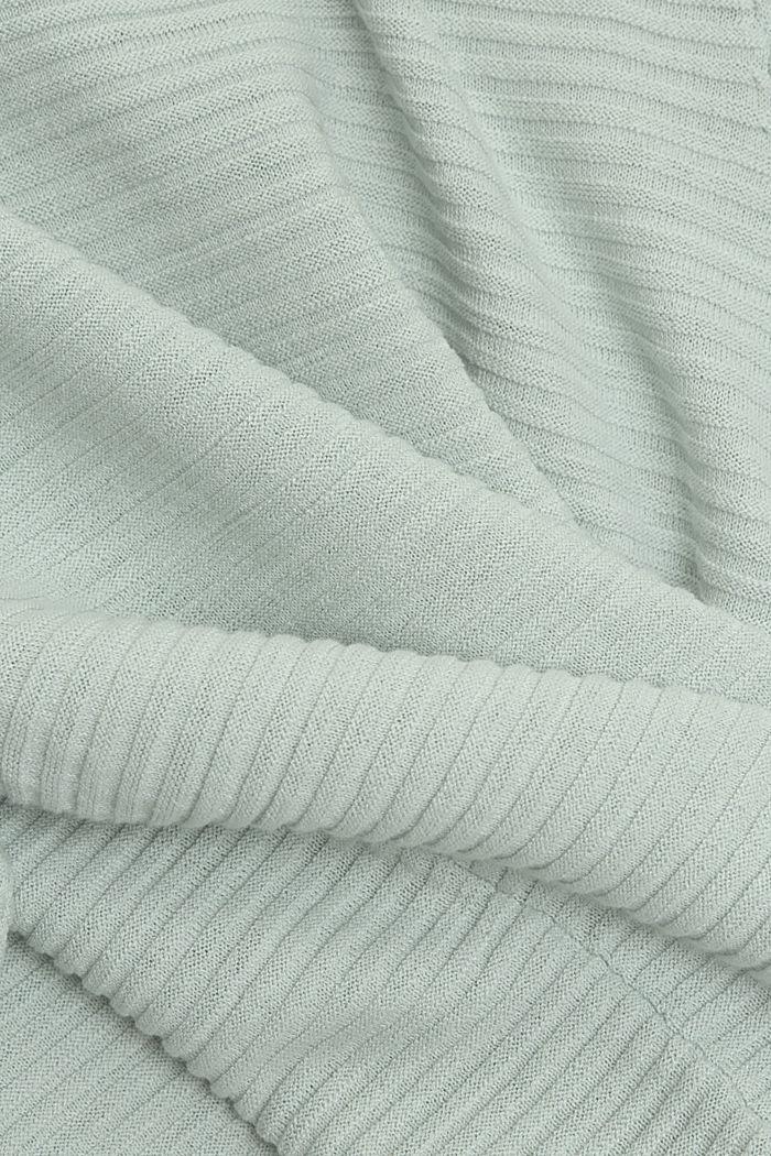 Linen/organic cotton: Rib knit jumper, LIGHT AQUA GREEN, detail image number 4