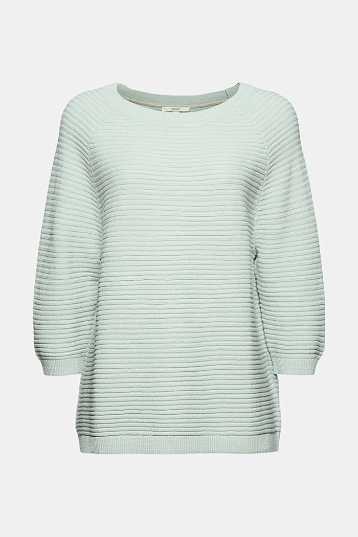 Linen/organic cotton: Rib knit jumper, LIGHT AQUA GREEN, detail image number 5