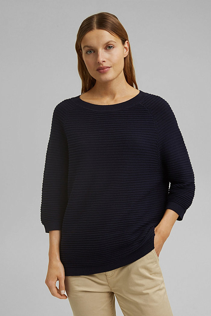 Linen/organic cotton: Rib knit jumper, NAVY, overview