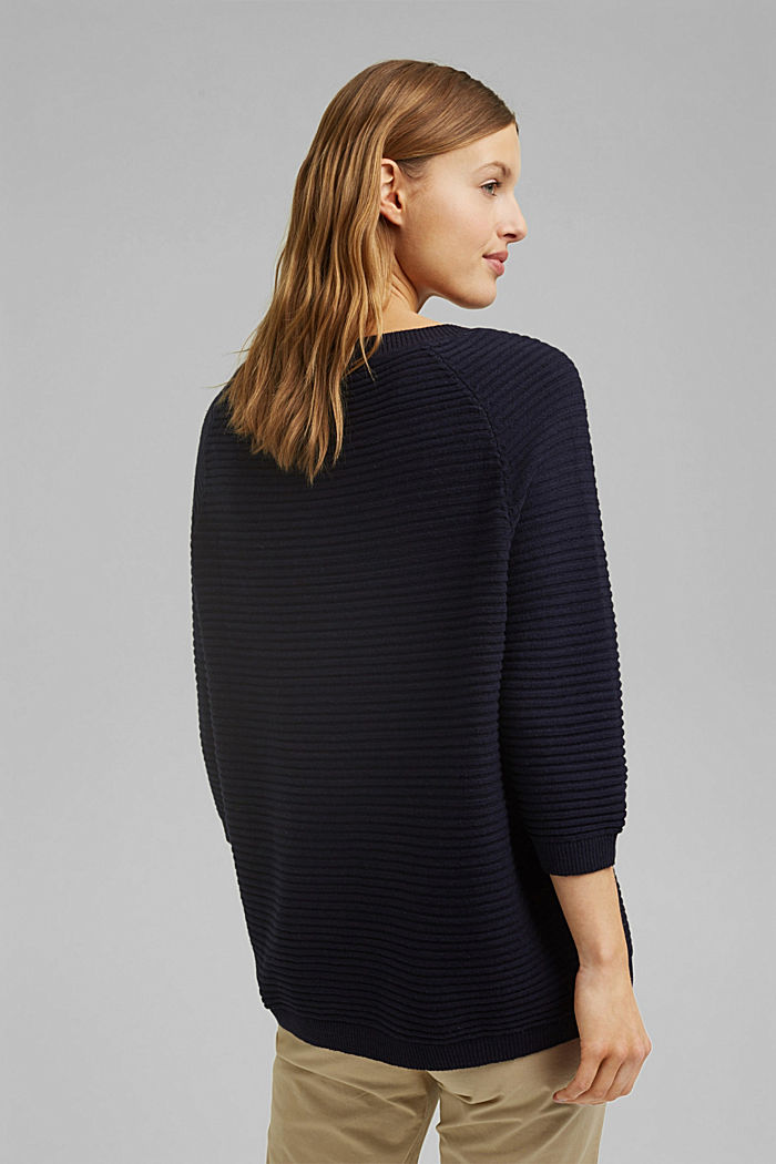 Linen/organic cotton: Rib knit jumper, NAVY, detail image number 3