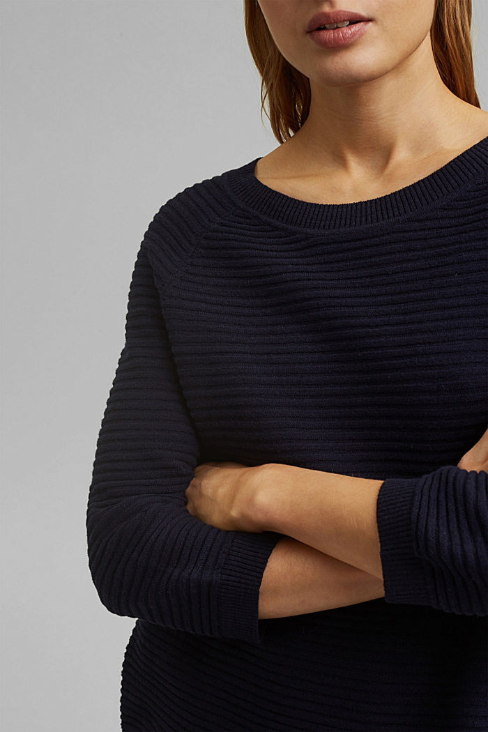 Linen/organic cotton: Rib knit jumper, NAVY, detail image number 2