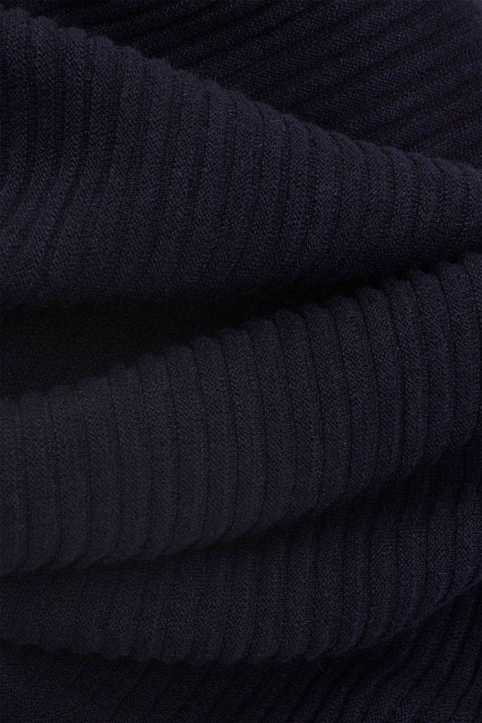 Linen/organic cotton: Rib knit jumper, NAVY, detail image number 4